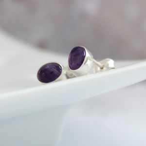 Amethyst And Silver Oval Stud Earrings - earrings
