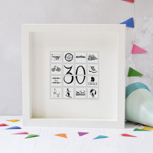 Personalised Illustrated Birthday Tile Frame - 30th birthday gifts