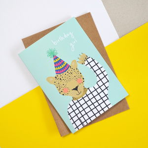Birthday Girl Leopard Children's Card - birthday cards