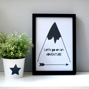 'Let's Go On An Adventure' Monochrome Wall Print - pictures & prints for children