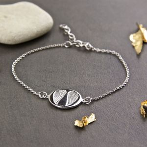 Sterling Silver Angel Wings Impression Bracelet