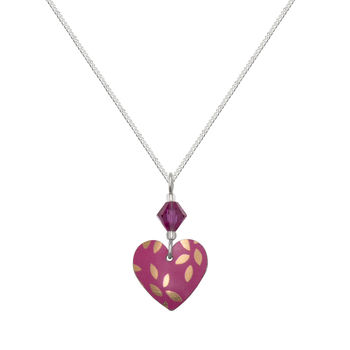 Pink Small Heart Necklace Swarovski Crystal