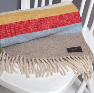 Personalised Initials Blanket Stripes Lambswool Scarf