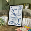 Personalised Couple's Initials Illustrated Travel Print