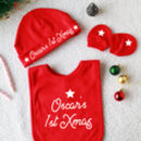 Personalised First Christmas Baby Bib And Hat Gift Set