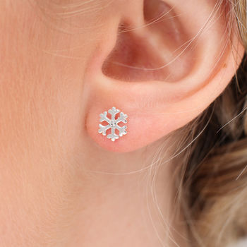 Sterling Silver And Crystal Tiny Snowflake Earrings