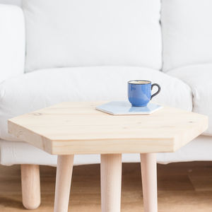 Wooden Hexagon Table Side Table With Round Tapered Legs - side tables