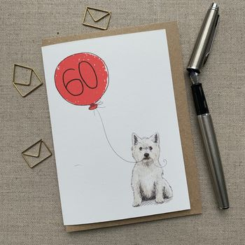 Personalised Westie West Highland 60th Birthday Card