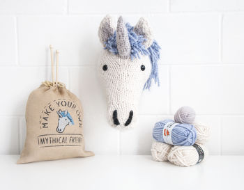 Giant Unicorn Head Knitting Kit
