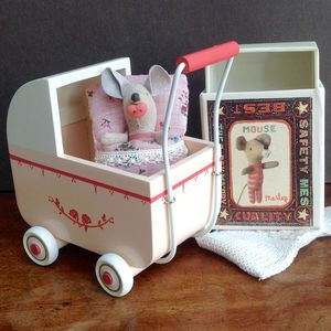 Vintage Style Wooden Pram And Match Box Mouse - toys & games
