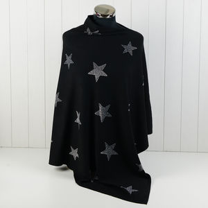 Sparkle Star Luxury Poncho - ponchos & wraps