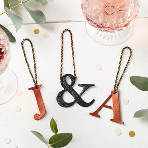 Metallic Initial Leather Bottle Tag - kitchen