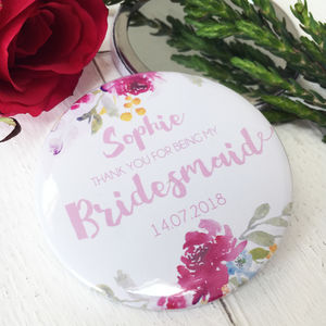 Watercolour Floral Thank You Or Be My Bridesmaid Mirror