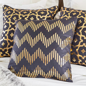 Metallic Chevron Square Silk Cushion - on trend: copper