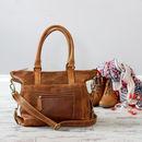 Leather Zip Pocket Handbag