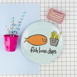 Fish And Chips Fun Melamine Plate