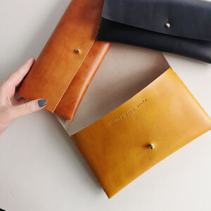 'Hidden Message' Personalised Leather Clutch Bag