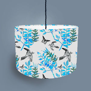 Botanical Bird Lampshade Light Grey