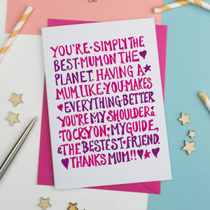 Simply The Best Mum Card