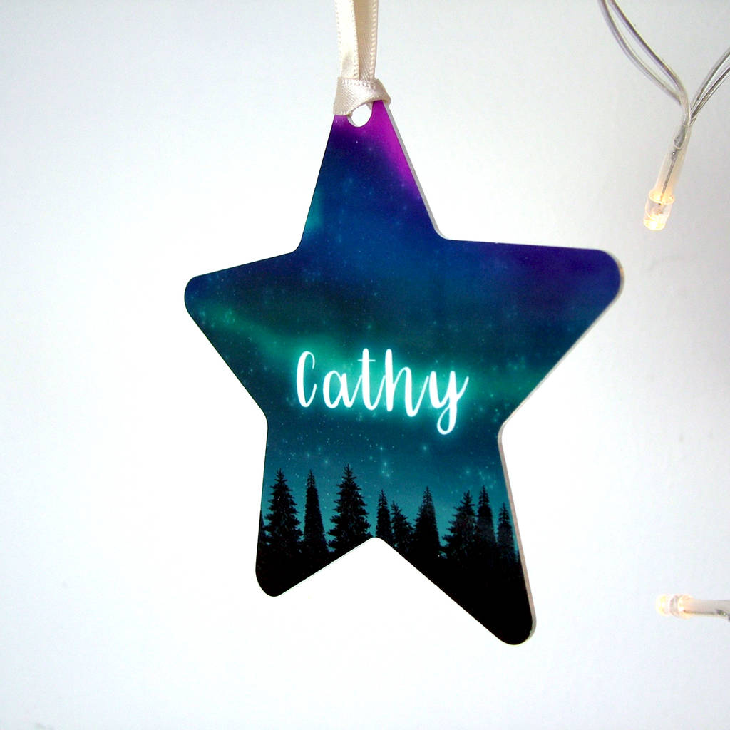 Northern Lights Personalised Christmas Tree Decoration By Hoobynoo