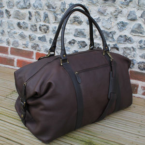 Supersize Leather Holdall - top leather accessories