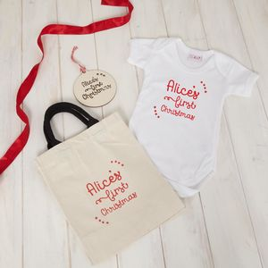 Baby First Christmas Personalised Gift Set - clothing