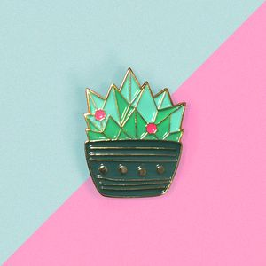 Blue And Pink Enamel Cactus Pin With Gold Metal - women's jewellery