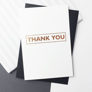 Thank You Rose Gold Foil Set Of 12 Cards - thank you cards