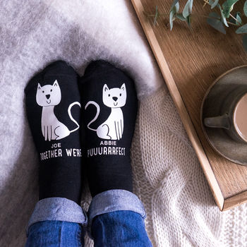 Personalised Heart Cat Socks