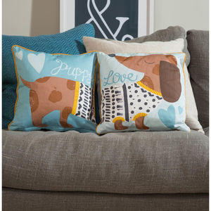 Puppy Love Cushion - patterned cushions