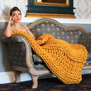 Chunky Bulky Ribbed Knitted Throw Various Sizes