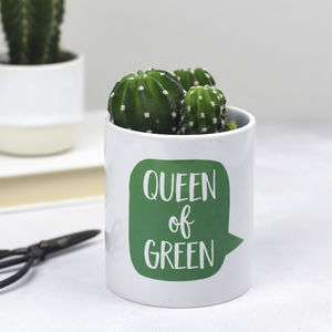 Queen Of Green Plant Pot - gifts for her