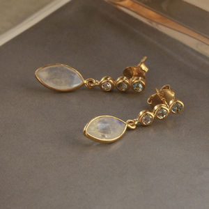 Almond Gemstone Drop Earrings - new in wedding styling
