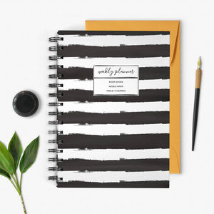 Black And White Stripe Undated Weekly Planner - 2017 & 2018 diaries