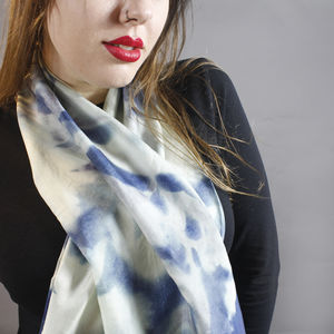 Floral Cyanotype Botanical Long Silk Scarf