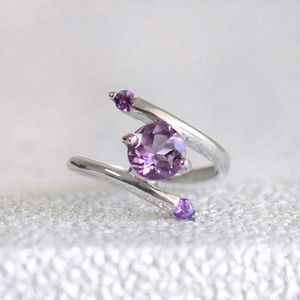 Sterling Silver Contemporary Amethyst Ring