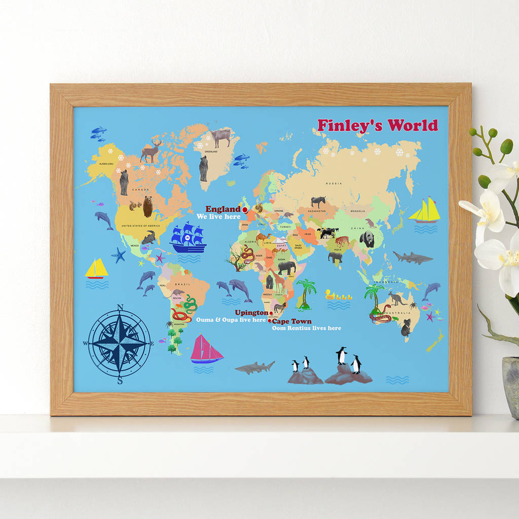 Kids Map Of England.Personalised Child S World Map Print By Cherry Pete