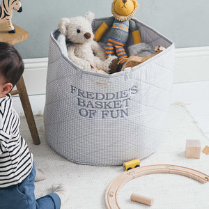 Grey Gingham Toy Storage Basket - storage baskets