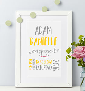 Engagement Personalised Couple Print - shop by subject