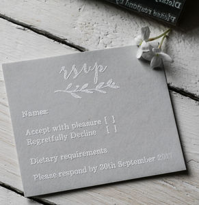 RSVP Stamp With Natural Sprig - invitations