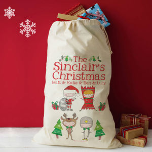 Personalised Family Christmas Santa Sack - baby's room