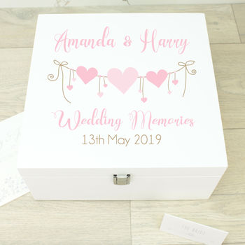 Large Heart Strings White Wooden Wedding Memory Box
