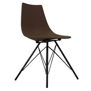 Oslo Chair Coffee With Black Metal Legs - dining chairs