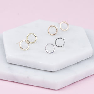 Handmade Solid Gold Hoop Stud Earrings - fine jewellery