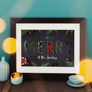 Personalised Chalkboard Effect Be Merry Christmas Print