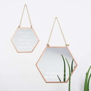 Engraved Geometric Copper Mirror - mirrors