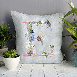 Personalised Floral Letter Sofa Cushion Gift For Her - gifts