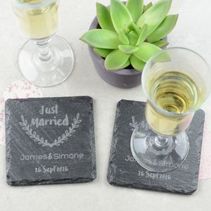 Just Married Personalised Wedding Coasters - personalised wedding gifts