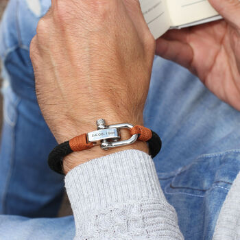 Mens Personalised Message Shackle Bolt Bracelet