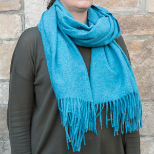 Merino Wool Plain Extra Wide Scarves - womens
